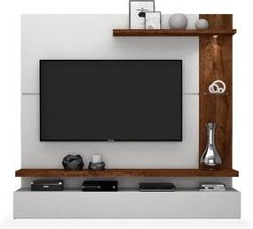 Painel para TV até 50 polegadas, Branco Brilho com Rústico Malbec, Dalma II