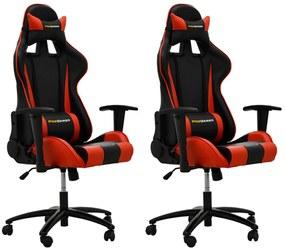 Kit 02 Cadeiras Gamer Giratória Reclinável com Regulagem de Altura Ergonômica PRO-V Sport PU Sintético Preto/Vermelho - Gran Belo