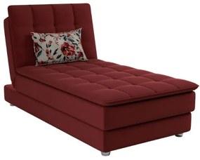 Sofá Cama Chaise 1 Lugar Penelope - Veludo Vinho almofada 420