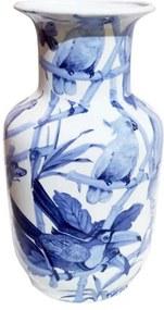 Vaso em Cerâmica Pássaros Azuis 19 cm x 30 cm x 20 cm