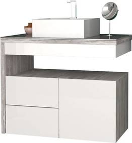 Gabinete Para Banheiro Com Cuba Cubo Aimoré 70 Cozimax Branco/calcare