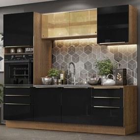 Cozinha Completa Madesa Lux 240002 com Armário e Balcão Rustic/Preto Cor:Rustic/Preto