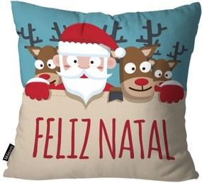 Capa para Almofada Mdecor De Natal Feliz Multicolorido