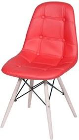 Cadeira Eames Botone Vermelho Base Madeira - 32075 Sun House