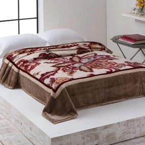 Cobertor Casal Home Design 2,20m x 1,80m 01 Peça - Avelã / Floral