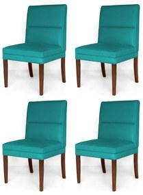 Kit 4 Cadeiras De Jantar Hermione Base Madeira Maciça Estofada Suede Azul Tiffany