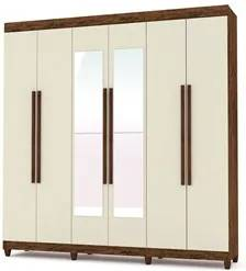 Guarda Roupa Casal Elegance 6 Portas e Espelho Imbuia Champanhe - VLR