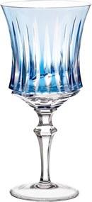 Taça de Cristal Lapidado Artesanal p/ Vinho Tinto - 66 - Azul Claro