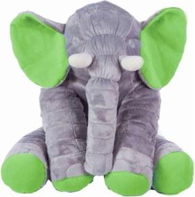 Almofada I9 baby Elefante para Bebê 67 cm Cinza e Verde