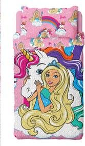 Colcha Dupla Face Solteiro Estampada Bouti Barbie Reinos Mágicos 1,60 m x 2,20 m Com 2 peças - Produto Importado Lepper Rosa