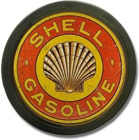 Luminoso Shell Gasoline Vermelho Bivolt em Alumínio com LED - 30x4 cm