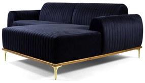 Sofá 4 Lugares com Chaise Base de Madeira Euro 255 cm Veludo Azul - Gran Belo