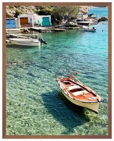 Quadro Decorativo Milos Foto Matte Barcos e Mar Branco e Azul - CZ 44093