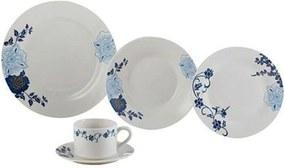 Aparelho de Jantar Lyor 20 peças de Porcelana Classic Branco/Azul