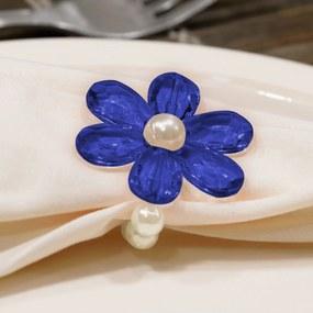 Kit 6 Peças Abraçadeira Prendedor Porta Guardanapo Pérola Pingente Flor Azul para Mesa de 6 Lugares