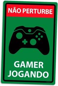 Placa Decorativa 24x16cm Não Perturbe Gamer Jogando Xbox Controle