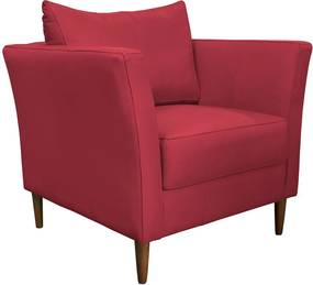 Poltrona Decorativa Sala de Estar Pés Palito Lubbock Couro Vermelho - Gran Belo