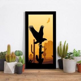 Quadro Alto Relevo Águia Cactos Deserto Laranja e Preto