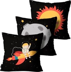 Kit com 3 Almofadas Mdecore Infantil Astronauta Preta 35x35cm