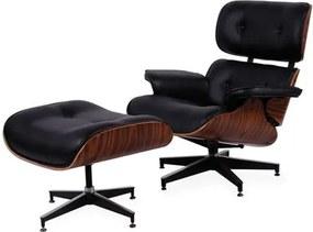 Poltrona com Puff, Preto Charles Eames II
