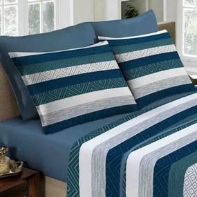 Lencol Duplo Queen Portallar -Design Linho Azul