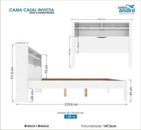 Cama Casal Invicta C/Baú 225766 Branca Santos Andirá
