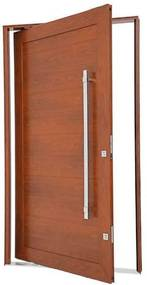 Porta Pivotante Lambris Horizontais com Puxador Alumínio Madeira 243,5x146,2x12cm Direita Aluminium - 72463110 - Sasazaki - Sasazaki