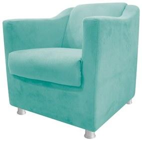 Poltrona Decorativa Tilla Suede Azul Tiffany - ADJ Decor