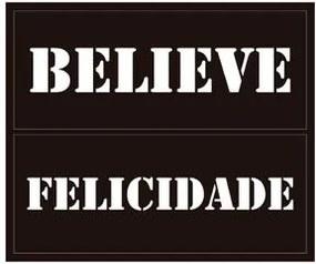 Quadro Placa Preta 25x30cm Believe Felicidade Q3096 Flok