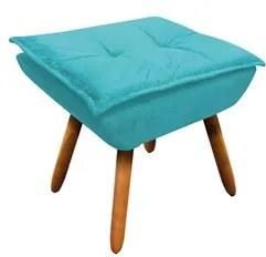 Puff Decorativo Sala de Estar Pés Palito Opla Suede Azul Tiffany- Ibiz
