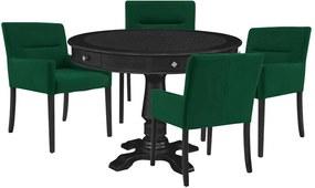 Mesa de Jogos Carteado Redonda Victoria Tampo Reversível Preto com Kit 4 Cadeiras Vicenza Verde - Gran Belo