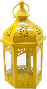Lanterna Grande Marroquina Hexagonal Amarelo em Metal e Vidro - Urban