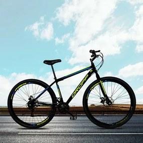 Bicicleta Aro 29 Quadro 19 Aço 21 Marchas Freio a Disco Mecânico Preto/Amarelo/Azul - Dropp