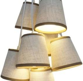 Luminária Cacho 7 Cúpulas Crie Casa Bege