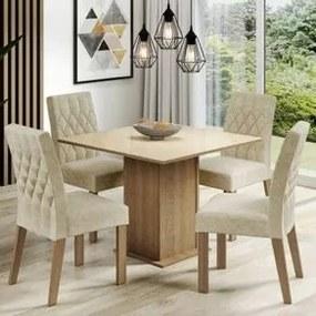Conjunto Sala de Jantar Madesa Brenda Mesa Tampo de Vidro com 4 Cadeiras Rustic/Crema/Imperial Cor:Rustic/Crema/Imperial