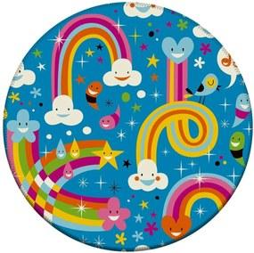 Tapete Love Decor Redondo Wevans Arco Iris Baby Multicolorido 84cm