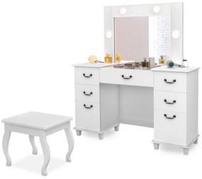 Penteadeira Camarim c/ Espelho Louise com Banqueta Eloá Retrô Branco - ADJ DECOR