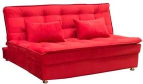 Sofá Cama Reclinável Penélope com Almofadas Suede Pena - Vermelho