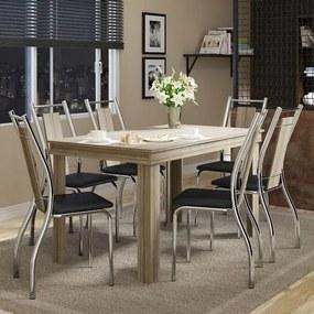 Conjunto Sala de Jantar com Mesa Topaco e 6 Cadeiras Cromadas, Napa Preta, Prime
