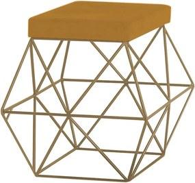 Puff Decorativo Sala de Estar Base Gold Trixie Suede Mostarda - Gran Belo