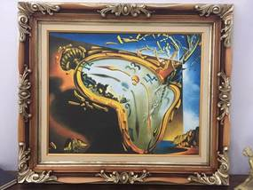 Quadro Obra de Arte Salvador Dali Melting Watch Relógio 90x80cm