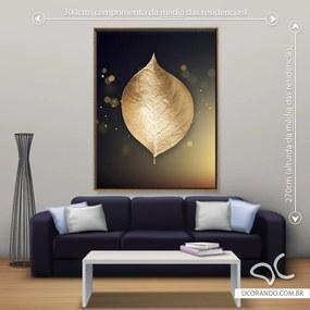 Quadro Folha Dourada - Gigante 185cm x 140cm, Tela + Moldura Dourada