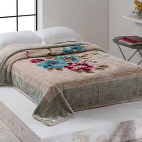 Cobertor Casal Home Design 2,20m x 1,80m 01 Peça - Verde / Bege
