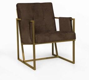 Poltrona Megan Luxo  Decorativo Base Dourado Suede Marrom