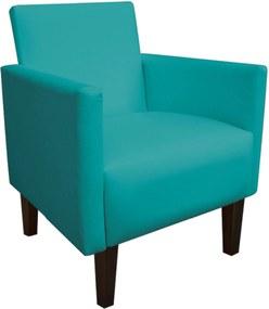 Poltrona Decorativa Compacta Jade Corino Azul Turquesa com Pés Baixo Chanfrado - D'Rossi.
