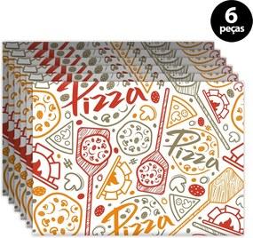 Kit 6pçs Jogo Americano Mdecor Pizza 40x28cm Bege