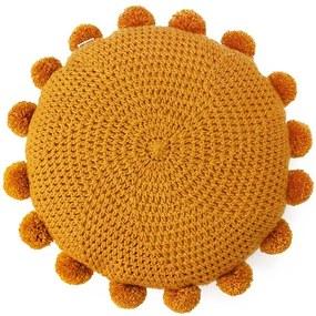 Almofada de crochet redonda com pompom mostarda
