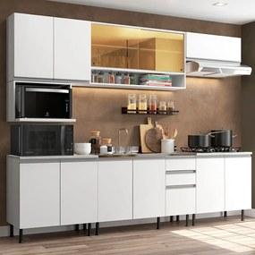 Cozinha Completa Madesa Genova com Armário e Balcão (Sem Tampo e Pia) Branco Cor:Branco