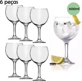 Jogo Taça De Gin Vidro 6 peças 600 ml Nadir