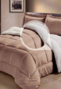 Cobertor Sherpa 2 em 1 Tipo Pele de Carneiro Casal Queen Anti-Frio Bege Cotex